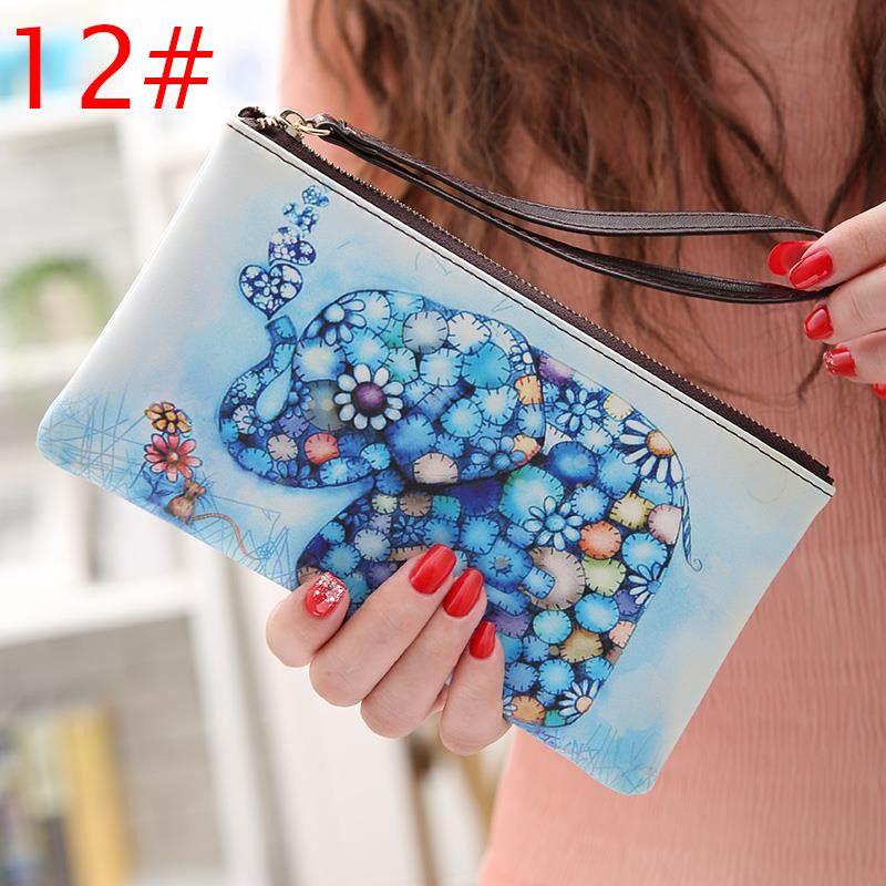 New Women PU Leather Long Wallet Handbag Zipper Up Cards Phone Coin Holders Purse with Wrist Strap KA-BEST