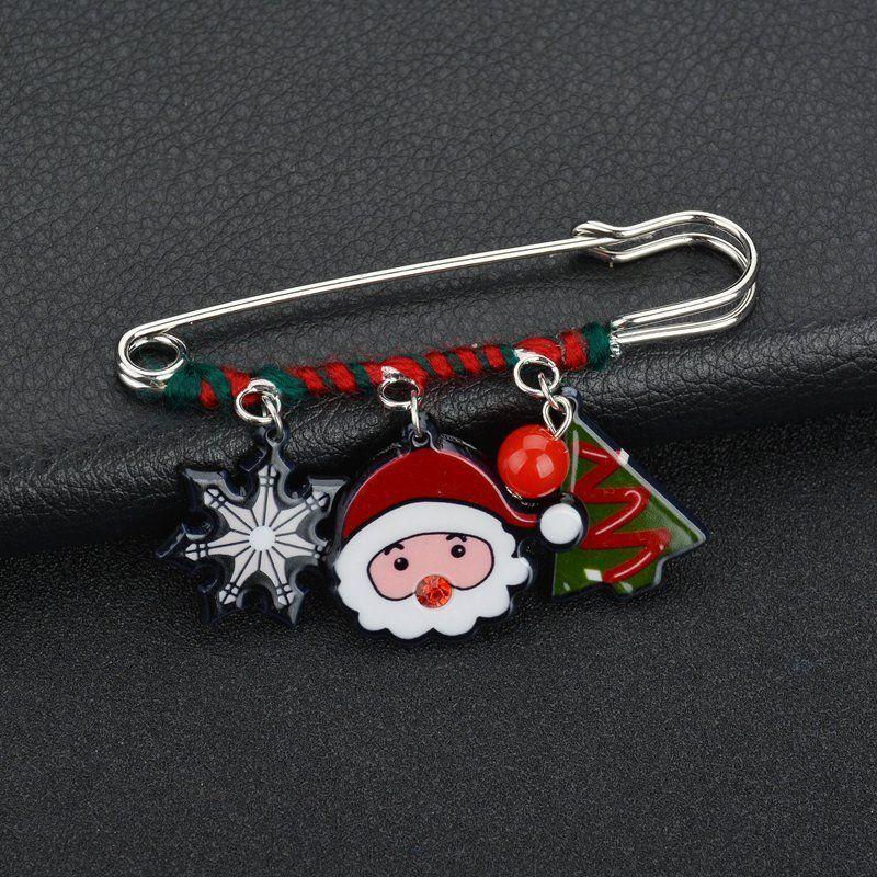 Ornamentos Papai Noel Milu Snowman Pin Broche Elemento Natal Chumbo Needle xale fivela