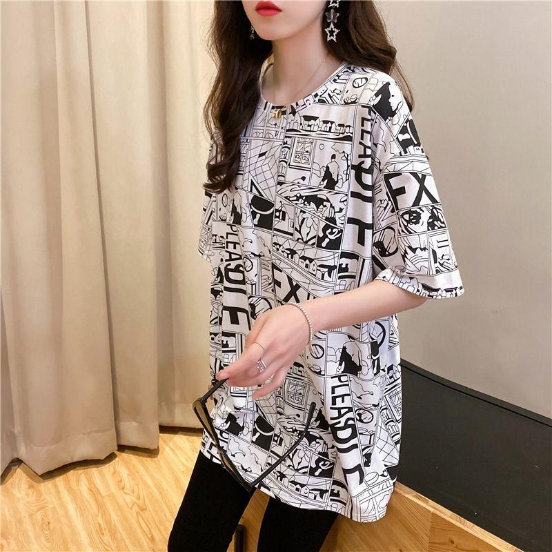 LjiTT YBnky 2020 rotonda nuovo Internet delle donne stile coreano stampata modo di perdere la maglietta estate manica corta in cotone T-shirt abbigliamento celeb