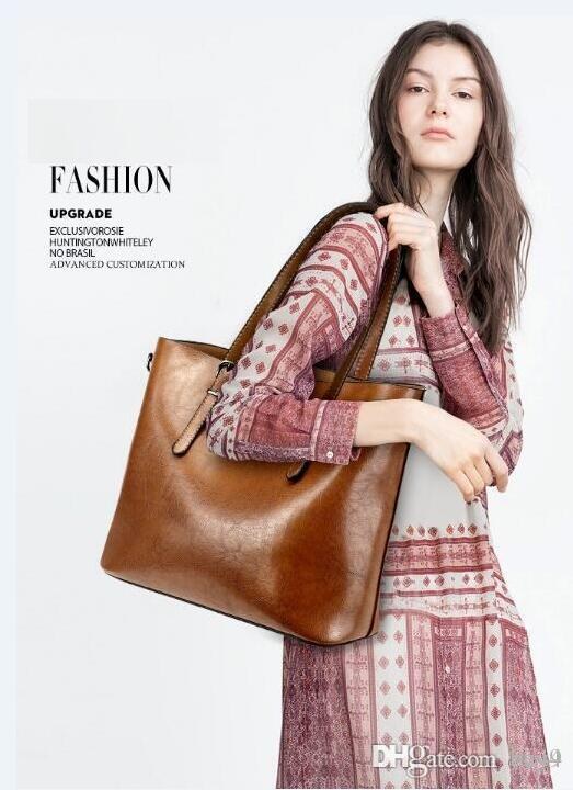 Women Oil Wax Leather Designer Handbag High Quality Shoulder Bag Ladies Handbags Fashion brand PU leather women bags Genuine Vintage