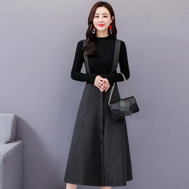 2020 Herbst-Frauen-Zweiteiler Weibliche gestrickten Pullover Kleid Anzug Ensemble Femme dünne Klage Outfits Kleidung AQ586