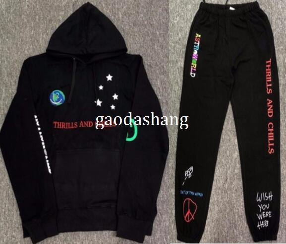 2019 TRAVIS SCOTT ASTROWORLD Peaceful Logo Smile The Earth Embroidery Black  Hoodie Sweatshirts Hooded Women Men Hip Hop Jogger Pants Sweatpants From