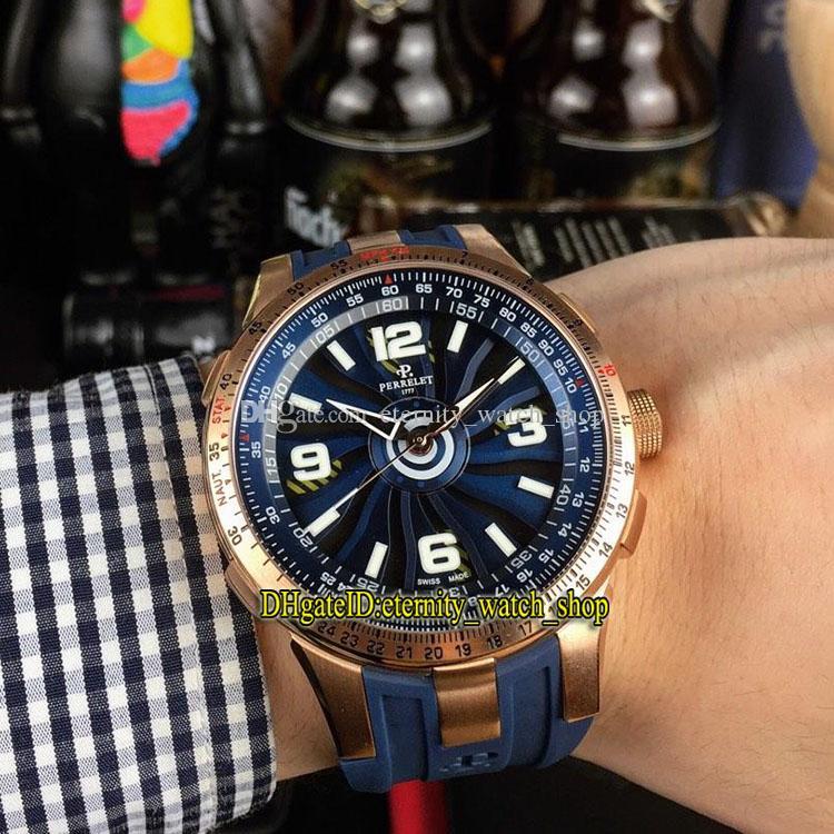4 Цвет Lmpeller Turbine Pilot A1085 / 1A розовое золото стальной корпус автоматические механические мужские часы синий поворот циферблат резиновый ремешок спортивные часы