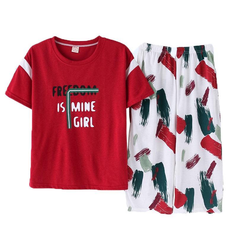 Kadın Yaz Pamuk Pijama Gecelik Rahat Ev Hizmet Short Sleeve Şort nightclothes Pamuk Artı boyutu Pijama İçin Kadınlar