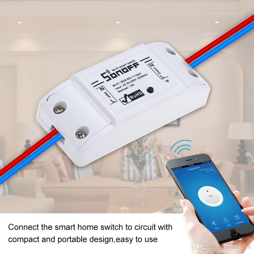 Sonoff Basic Smart Wifi Switch Wireless Remote Control Light Switch Socket Smart Home Controller Work with Alexa and Google