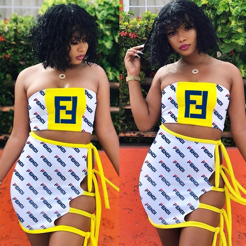 Robe FF Sexy Beach Maillot de bain femme Sarong Jupe Glands Drawstring Set F Maillot de Bain Tube Crop Top + Mini robe fends Maillots de bain B1106 chaude