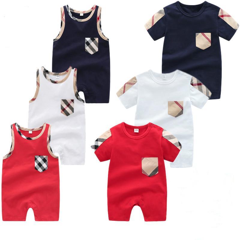 Летние детские дети детские мальчик дизайнер одежды мальчиков девочек плед O-образным вырезом с коротким рукавом без рукавов Комбинезоны хлопок Ползунки Одежда WD95086