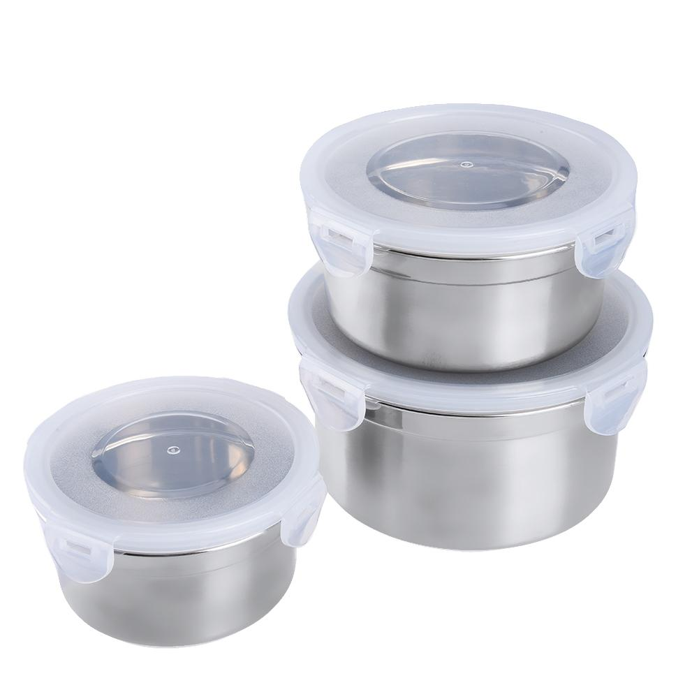 Uarter 3PCS High quality Stainless Steel Food Containers Leak-proof Food Storage Box Set Air-tight Lunch Containers with Lids C18112301