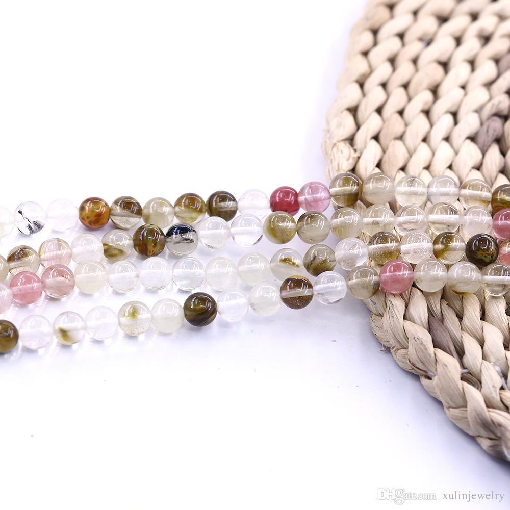 Mezcla de cuarzo cerezo liso redondo piedra fábrica de cuentas de 15 pulgadas filamento por juego para joyería diy