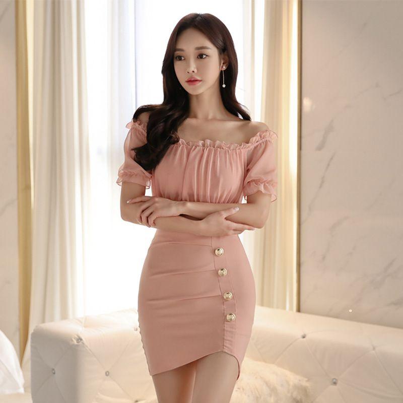 2019 새로운 스타일 한국 모델 여성 드레스 섹시한 우아한 벌거 벗은 어깨 수평 목 사 슬림핏 칼집 드레스 맞춤법