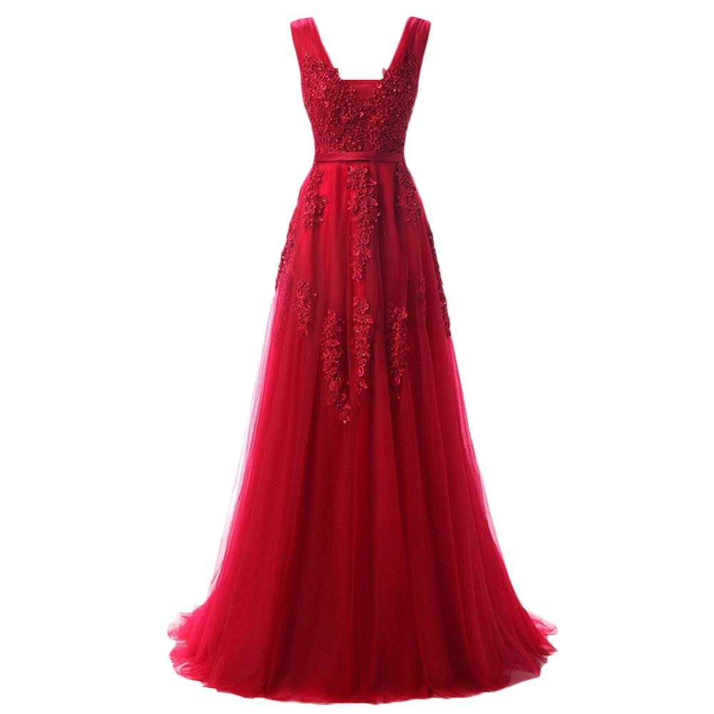 2019 Hot Wine Red Evening Party Dress for Women Ladies Backless Lace Tulle Long Dress Wedding Bridesmaid Elegant Pleated