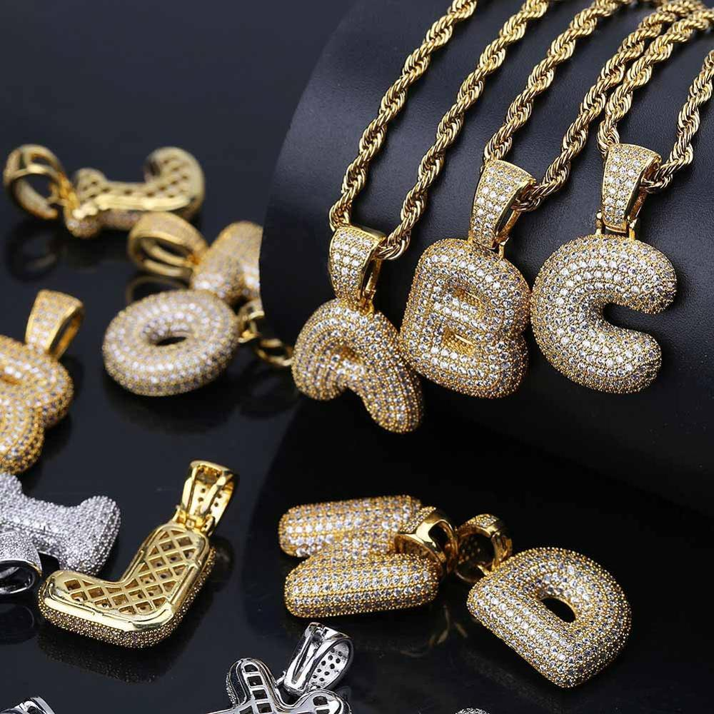 1pc costume 26 Letter colar de ouro pingente inicial Jóias alfabeto ouro Letter AQ Pendant para fora congelado Micro Pave para as Mulheres Homens A-Z