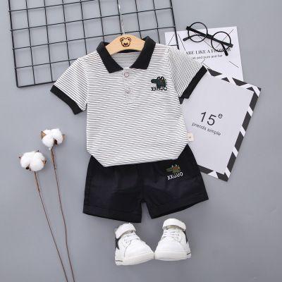 Crianças de Verão Vestuário Meninos Moda pólos + Shorts Two Pieces Crianças Casual respirável roupa Define Letter Imprima Tops