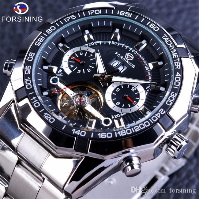 Forsining Tourbillon Design Automatic Watch Military Steampunk Luxury Mens Watches Calendar Display Silver Stainless Steel Brand Men Watche
