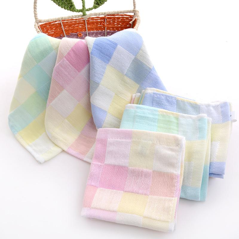 Plaid cotton square towels Gauze spit Double child-towel hand towel cotton 3 colors wholesale towel set for baby
