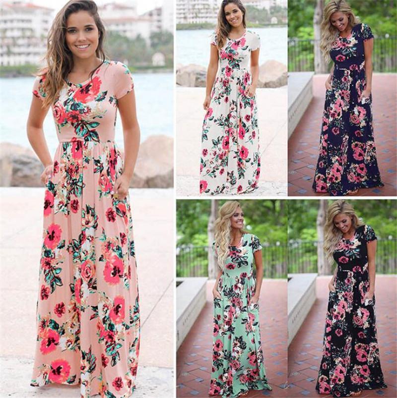 New Women Floral Print Short Sleeve Boho Dress Evening Gown Party Long Maxi Dress Summer Sundress Beach Dress