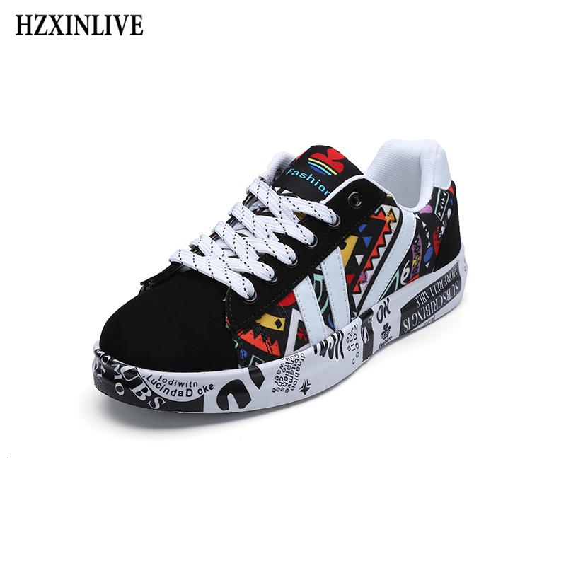 HZXINLIVE 2019 Summer Woman Sneakers White Casual Shoes Lovers Printing Fashion Flat Ladies Vulcanized Shoes zapatos de mujer SH190928