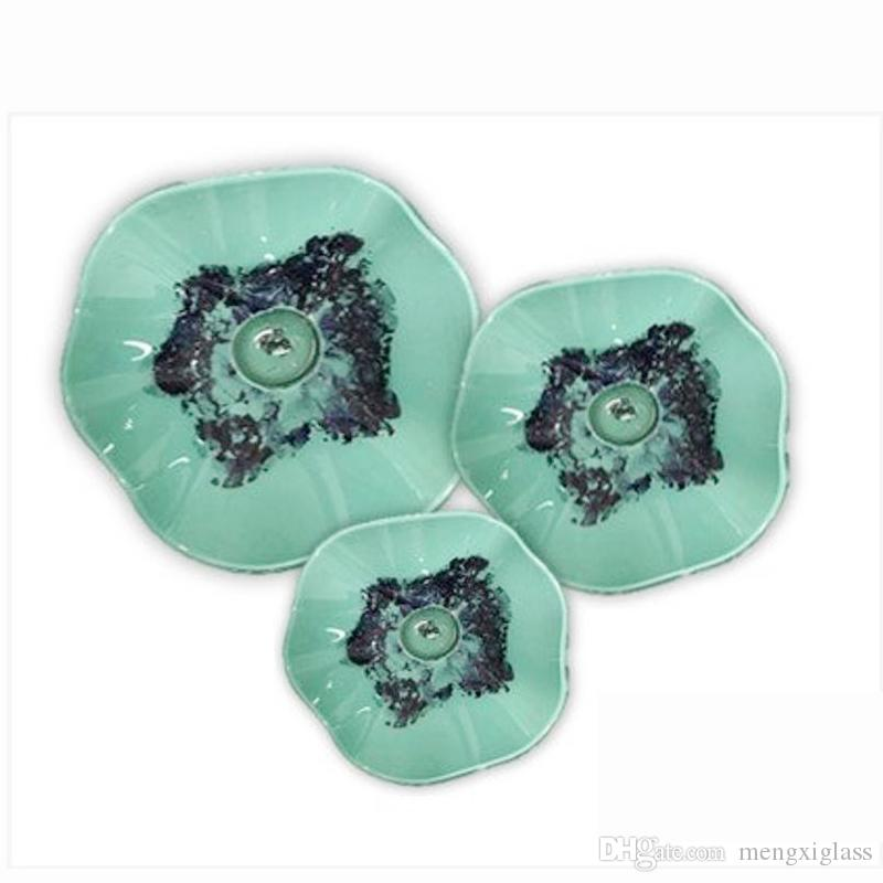 Hand Blown Murano Glass Elegant Tiffany Stained Hanging Plates Dale green color Modern art foyer Decor for cheap sale