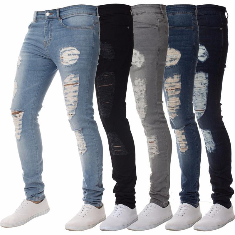 Casuales para hombre Skinny Jeans Pantalones para hombres negro sólido hombres jeans rasgados rasgados Mendigo Slim Fit Denim con la rodilla del agujero para los Jóvenes