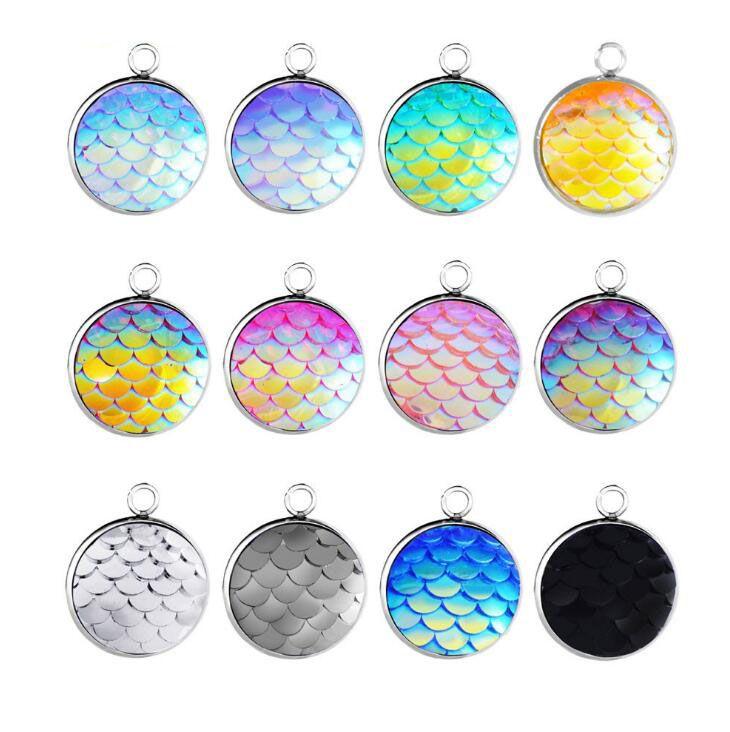 Оптовая Bulk нержавеющей стали 14MM круглый Mermaid Шкала шарма для моды ожерелье браслет серьги Изготовление ювелирных изделий