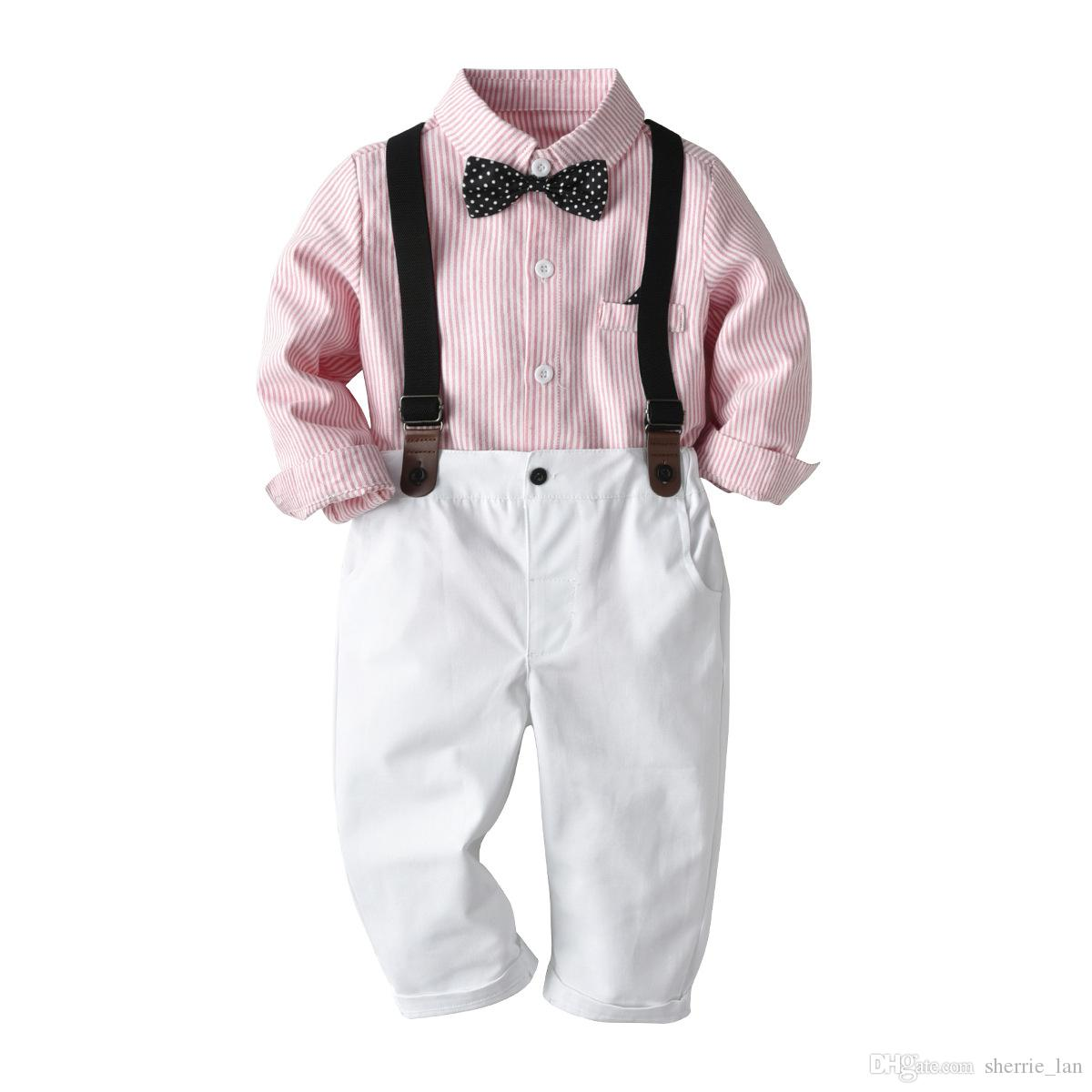 Baby Boys Clothes Sets,Infant Baby Boys Gentleman Bow Tie T-Shirt Tops+Shorts Overalls Clothes Outfits for 0-2 Years Old Kids Boys Outfits Summer Cotton Set