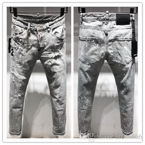 2020 nueva marca de pantalones vaqueros ocasionales de los hombres americanos, el lavado de alto grado, moler a mano puro Europea de moda y, optimización de la calidad T9618