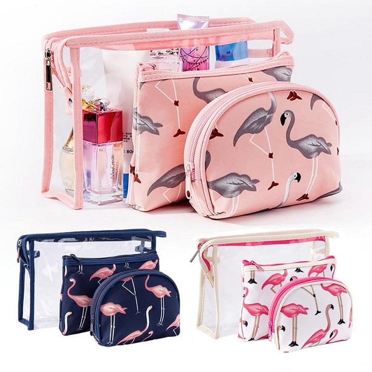 Леди косметическая сумка для хранения фламинго дизайн портативный водонепроницаемый ПВХ мыть мешок из трех частей набор дорожный пакет отель бытовой XD23062