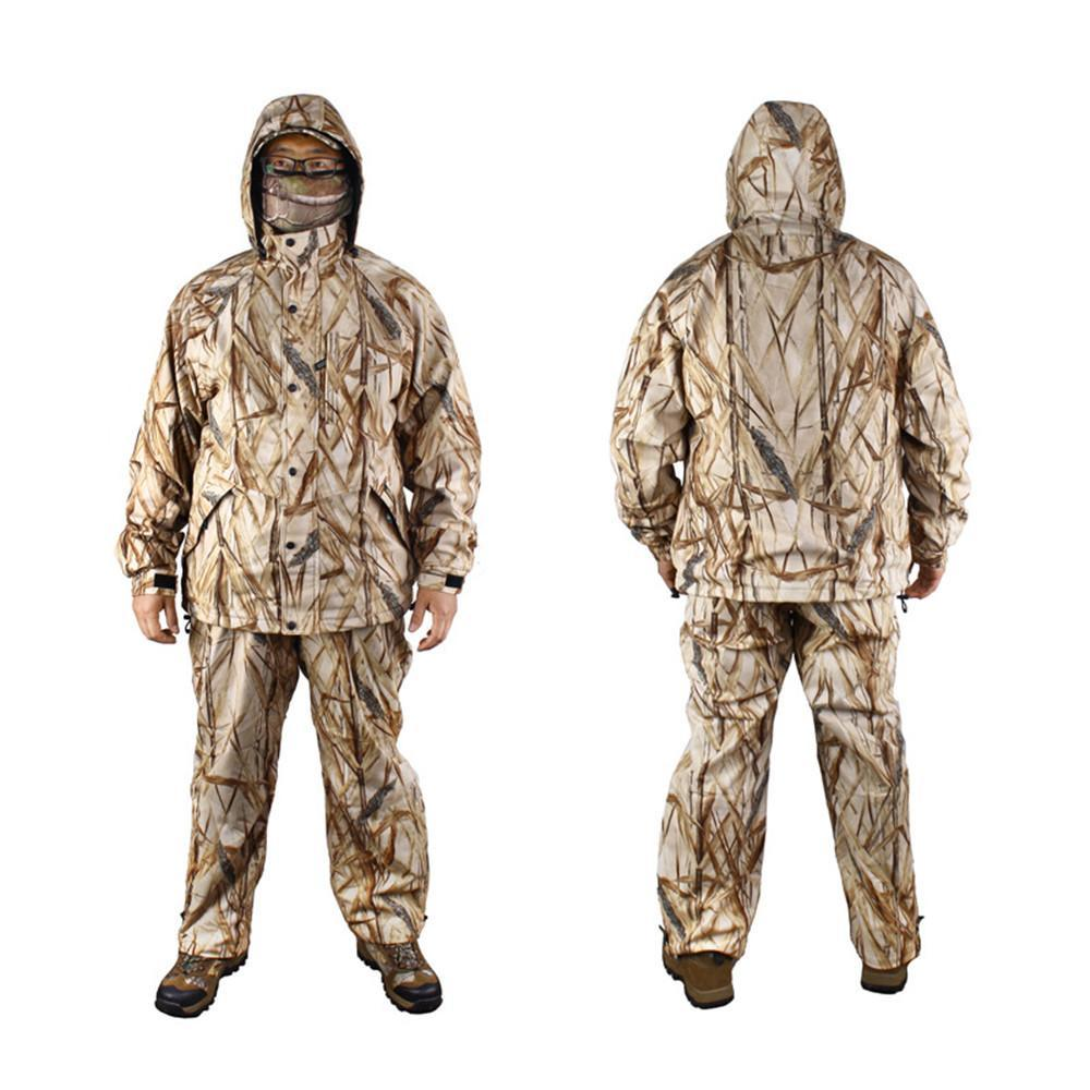 New Winter Bionic Camouflage Waterproof Reed Camo Hunting Suit Thermal Fleece Fishing Hunting Clothing Set Ghillie Suit
