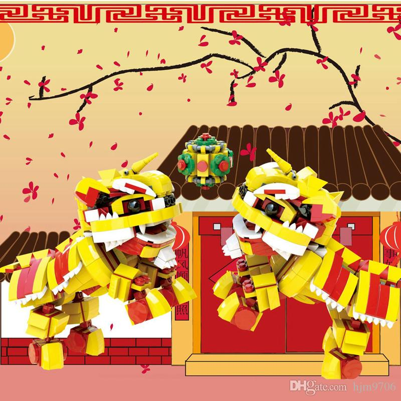 IN STOCK 19001 522Pcs السنة الجديدة سلسلة رقصة الأسد الأداء عيد الميلاد الإدراج تجميع بناء كتل اللعب هدايا