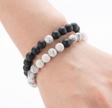 Mens 8mm Beads Pulseira Pedra Natural Lava Rock Bracelet Black White Matte Ágata Dele e Dela presente para Casais