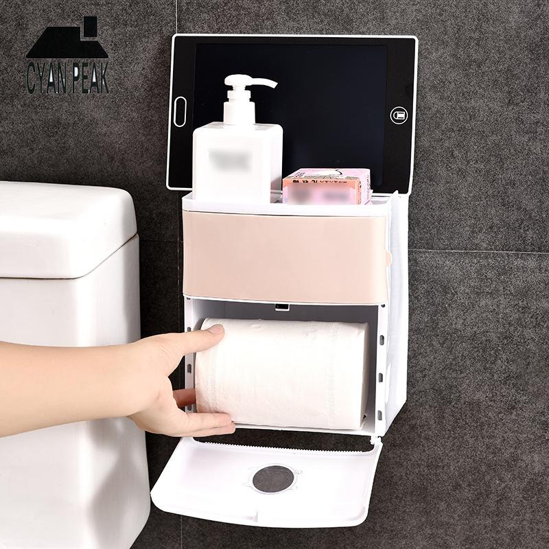 Bathroom Case Holder Toilet Paper Storage Waterproof Multifunction Toiletries Wall Mounted Tissue Holder Toilet Paper Stand