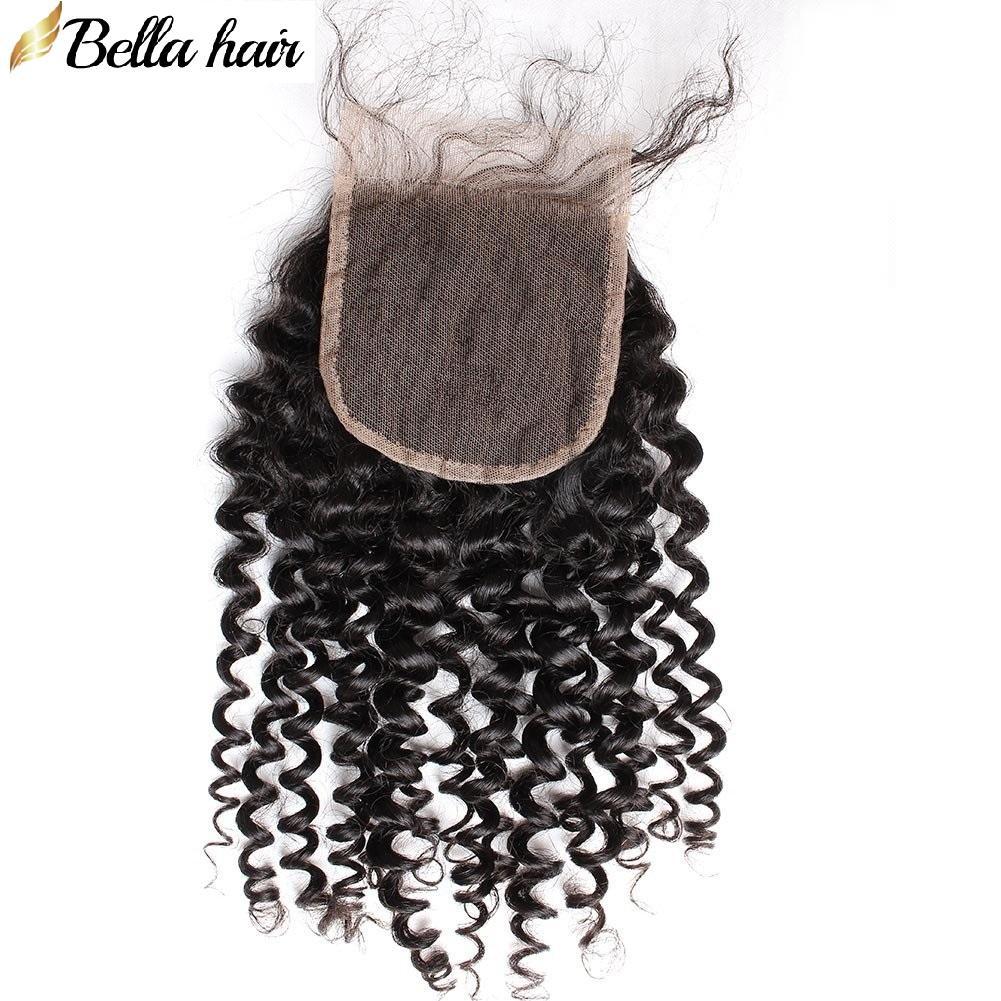 Pérou Curly Dentelle Fermeture de cheveux humains Fermeture 4X4 gratuite Partie supérieure avec bébé Closures cheveux bouclés Vierge POSTICHES Bellahair