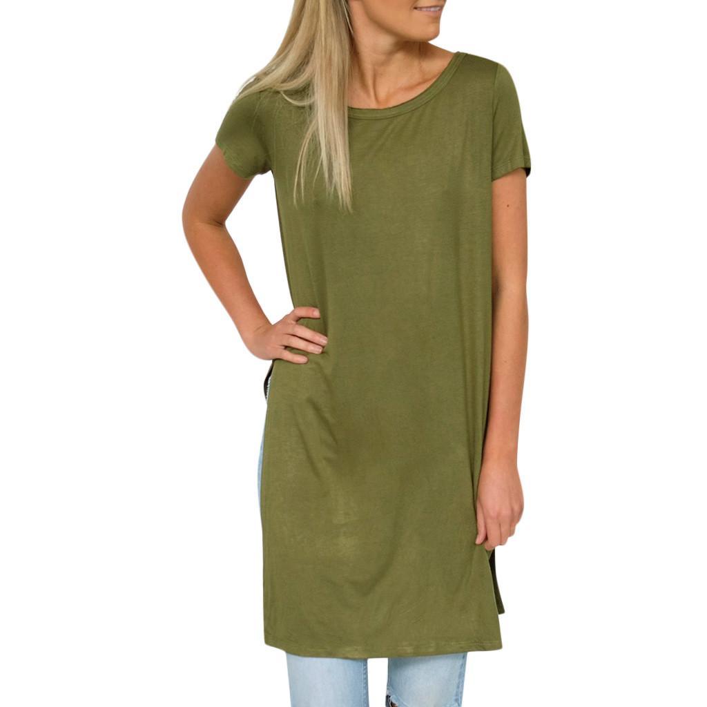 Feitong Brand Women Ladies Blouses Women's Casual Short Sleeve O-Neck Shirt Split Hem Loose Long Tops Blouse blusas mujer New