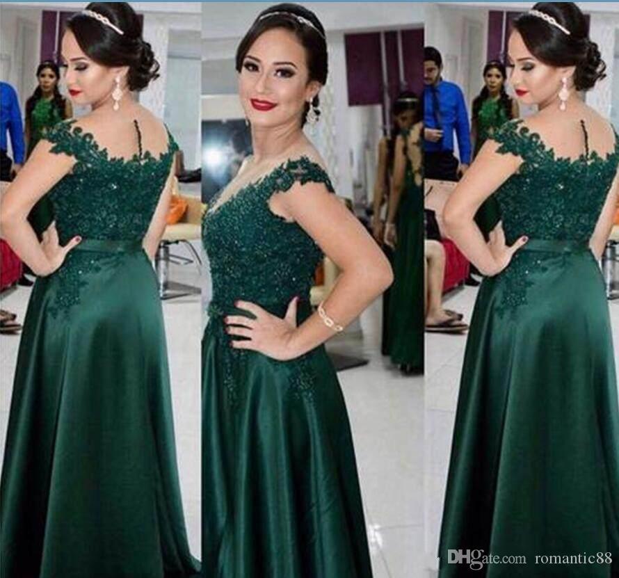 Hunter Green 2019 Mother Of The Bride Dresses Рукавов Кружева Бисероплетение Аппликации Вечерние Платья Трапеция Вечернее Платье