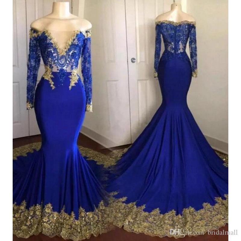 Illusion Boat Neck Elegant Long Sleeves Evening Dresses Royal Blue Formal Party Dress Evening Gowns Vestido de festa Mermaid Prom Dresses