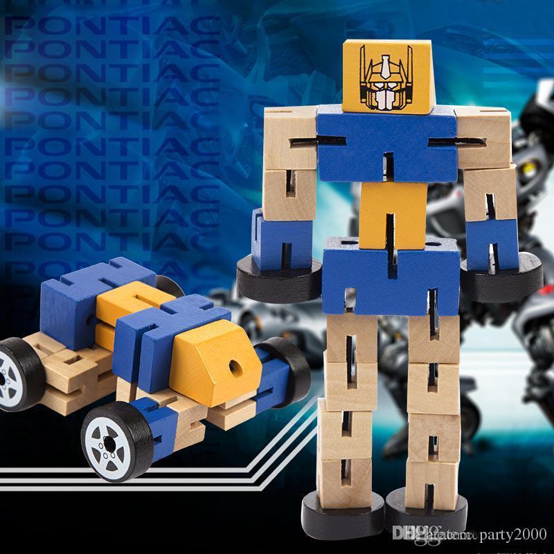 لعبة الذكاء خشبية تشوه روبوت السيارات الرجل متعددة النمذجة souptoys زراعة الأطفال المعرفية التنموية هدية للأطفال اللعب