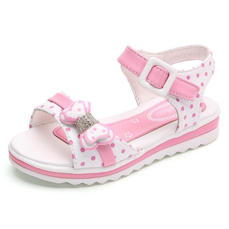 Girl Shoes Sandals Summer Children Princess Shoes With Bow Kids Beach Shoes Fashion Flat Girls Growing Footwear Y19062001