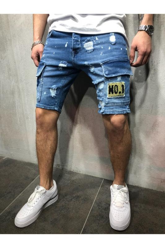Buracos Denim Shorts Men Moda Denim Jeans slim Calças retas Tendência dos homens do desenhista Calças New Mens Verão