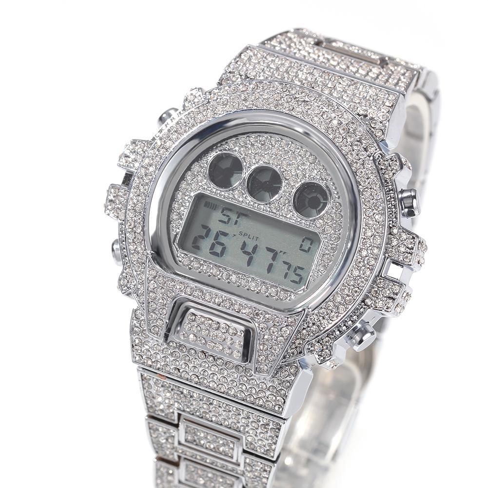 Iced Out Diamond Watch pour les hommes de luxe LED numérique Montres Hommes G Style sport étanche Montre-bracelet Homme Mode Homme Horloge