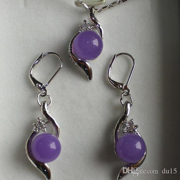 Женская свадьба хороший комплект ювелирных изделий 10мм фиолетовый драгоценный камень кулон серьги серебро-ювелирные изделия мода настоящее серебро-ювелирные изделия