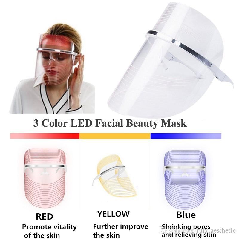 페이셜 마스크 피부 젊 어 짐 LED 라이트 치료 안티 에이징 여드름 미용 기계 광자 3 색