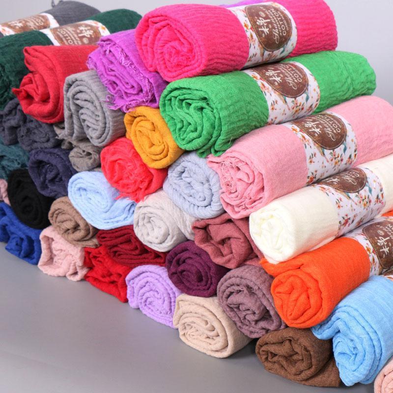 Europa y América muy popular bufanda de arruga simple chal envoltura hijab musulmán diadema drapeado bufandas populares 45 color 10pcs / lot