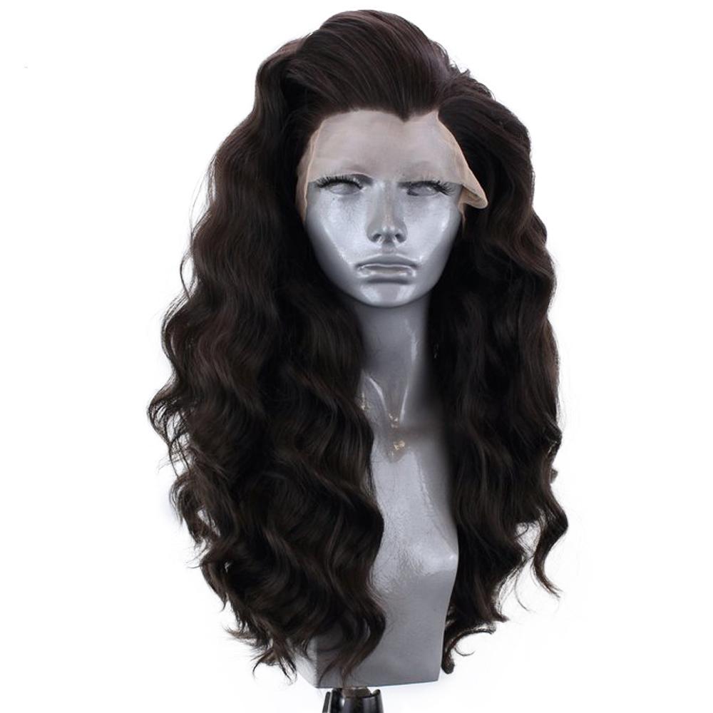 자연 검은 색 긴 느슨한 웨이브 가발 내열 헤어 글루리스 (glueless)의 합성 레이스 프런트 가발 여성 천연 헤어 라인 높은 품질