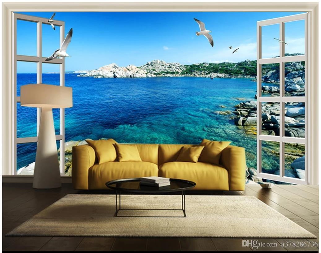 Compre Papel Tapiz 3d Foto Mural De Pared Personalizado Papel Tapiz 3d Ventana Fuera Del Mar Cielo Azul Estéreo 3d Hd Vista Al Mar Tv Sofá Fondo Decoración De La Pared A