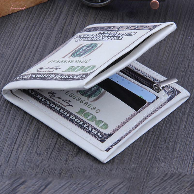 Aelicy 100 $ Dollaro US Dollaro Bill Portafoglio Moda Portafoglio in pelle Carta di credito Portafogli Portafogli Portafogli Moneta Portafogli Brown Leather Photo Wauwe
