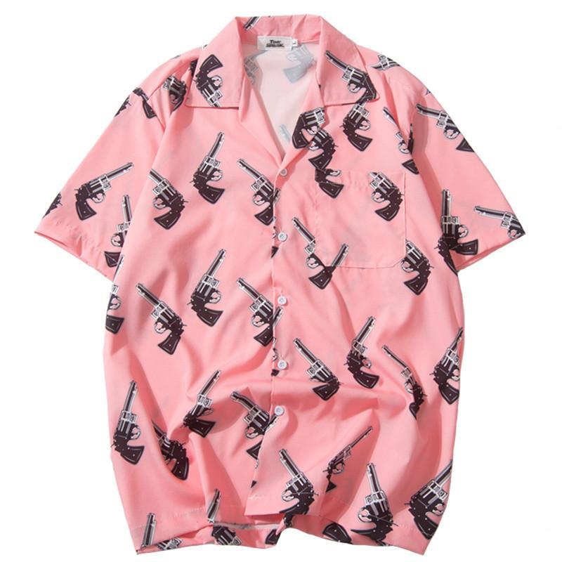 Januarysnow 2019 Hip hop camiseta Streetwear Mens camisa havaiana pistola Imprimir Harajuku Praia Verão fina camisa rosa Tops de manga curta Novo