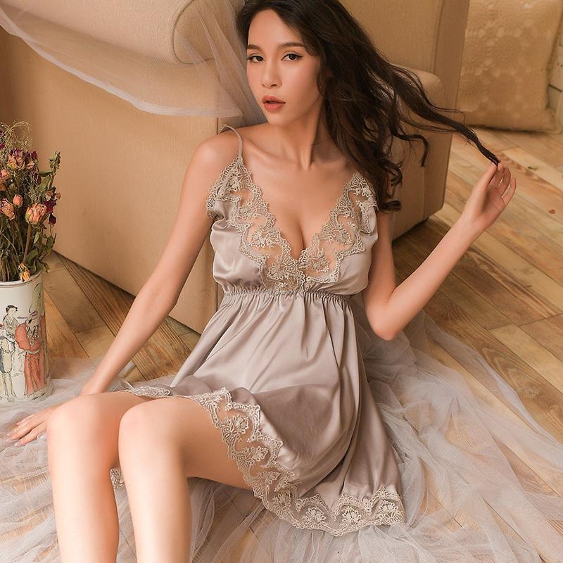 Nachtschlaf-Kleid-Nachthemden für Frauen-Unterwäsche-Wäsche-Riemen-Spitze-Stickerei-V-Ansatz reizvolles Nachthemd Lenceria Femenina S703