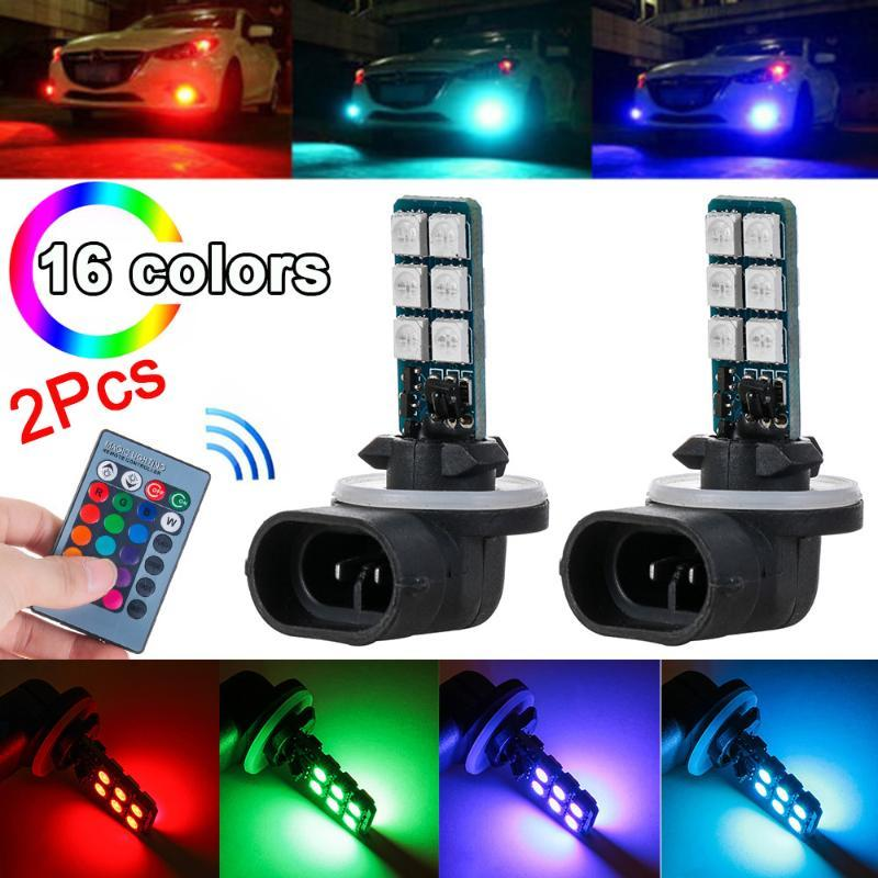 New 2pcs 16 Colors 881 RGB LED 12SMD Car Headlight Fog Light Lamp Bulb Remote Control Auto Replacement Parts Accessories