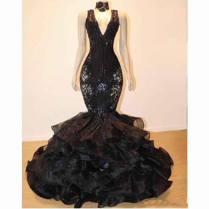 Sexy col en V Robes de bal sirène Ruffles organza soirée Tenues de soirée grande taille Black Girl Lace Party Celebrity Dress