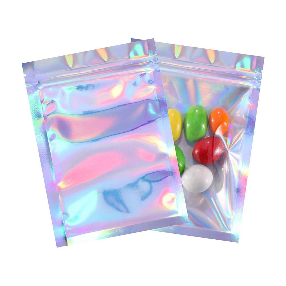100pcs Düz Zip kilit Çanta Banyo Tuzu Kozmetik Çantası Tek Taraf Temizle Holografik Lazer Mini Alüminyum Folyo Kilidi Çanta Kalın Zip